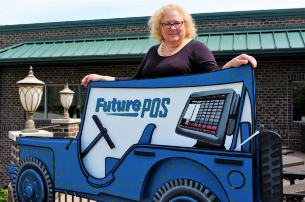 Eileen Stroup and the Future POS Jeep sculpture